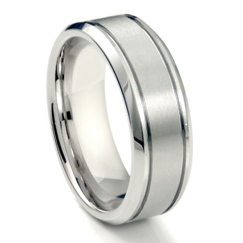 White Tungsten Carbide 8MM Newport Wedding Band Ring