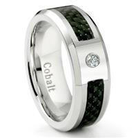 Cobalt Chrome 8MM Diamond & Black Carbon Fiber Inlay Wedding Band Ring