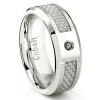 Cobalt Chrome 8MM Black Diamond & White Carbon Fiber Inlay Wedding Band Ring