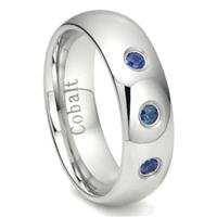 Cobalt Chrome 6MM 3 Blue Sapphire Domed Wedding Band Ring