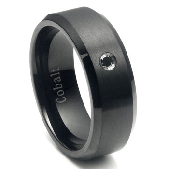 Cobalt Chrome Black Plated Black Diamond Wedding Band Ring
