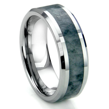 Tungsten Carbide Grey Metamorphic stone Inlay Beveled Wedding Band Ring