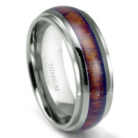 Titanium Ring Wedding Band w/ Hawaiian Koa Wood Inlay