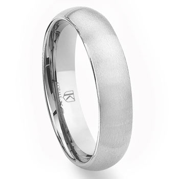 Cobalt XF Chrome 6MM Plain Brush Finish Dome Wedding Band Ring