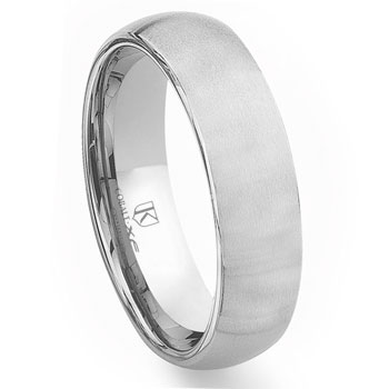 Cobalt XF Chrome 7MM Brush Finish Plain Dome Wedding Band Ring