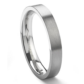 Titanium 3mm Satin Finish Flat Wedding Band Ring