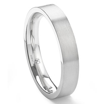 Cobalt XF Chrome 4MM Flat Satin Finish Wedding Band Ring