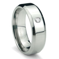 Titanium 6mm Solitaire Diamond High Polish Beveled Wedding Band Ring