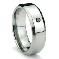Titanium 6mm Solitaire Black Diamond High Polish Beveled Wedding Band Ring