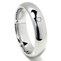 Titanium 6mm Solitaire Diamond High Polish Dome Wedding Band Ring