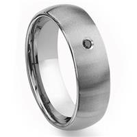 Tungsten Carbide 8mm Brushed Dome Black Diamond Men's Wedding Band Ring