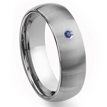 Tungsten Carbide 8mm Brushed Dome Sapphire Wedding Band Ring