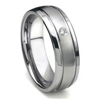 Tungsten Carbide Diamond Newport Dome Men's Wedding Band Ring