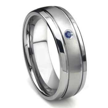 Tungsten Carbide Sapphire Newport Dome Men's Wedding Band Ring