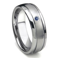 Tungsten Carbide Sapphire Newport Dome Wedding Band Ring
