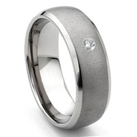 Tungsten Carbide Diamond Satin Finish Dome Men's Wedding Band Ring w/ Bevel Edges