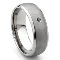 Tungsten Carbide Black Diamond Satin Finish Dome Men's Wedding Band Ring w/ Bevel Edges