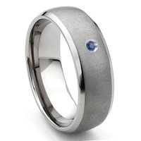 Tungsten Carbide Sapphire Satin Finish Dome Wedding Band Ring w/ Bevel Edges