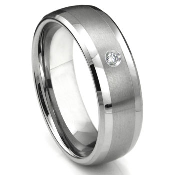 Tungsten Carbide Diamond Matte Finish Center Dome Men's Wedding Band Ring w/ Bevel Edges
