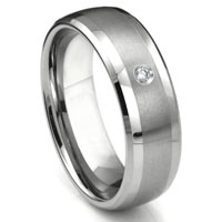 Tungsten Carbide Diamond Matte Finish Center Dome Wedding Band Ring w/ Bevel Edges