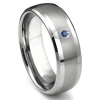 Tungsten Carbide Sapphire Matte Finish Center Dome Men's Wedding Band Ring w/ Bevel Edges