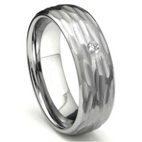 Tungsten Carbide Diamond Hammer Finish Dome Men's Wedding Band Ring w/ Bevel Edges