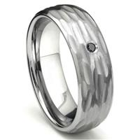 Tungsten Carbide Black Diamond Hammer Finish Dome Men's Wedding Band Ring w/ Bevel Edges