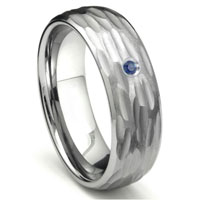 Tungsten Carbide Sapphire Hammer Finish Dome Men's Wedding Band Ring