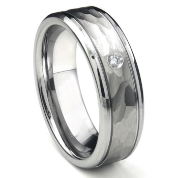 Tungsten Carbide Diamond Hammer Finish Newport Men's Wedding Band Ring