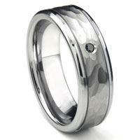 Tungsten Carbide Black Diamond Hammer Finish Newport Men's Wedding Band Ring