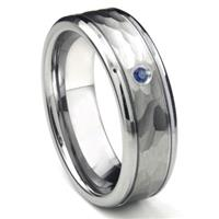 Tungsten Carbide Sapphire Hammer Finish Newport Men's Wedding Band Ring