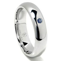 Cobalt XF Chrome 6MM Sapphire High Polish Dome Wedding Band Ring