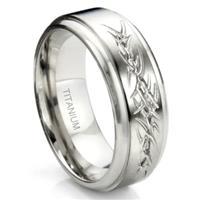 Titanium Tribal Tattoo Armband Wedding Band Ring