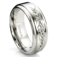 Titanium Tribal Tattoo Armband Wedding Band Ring