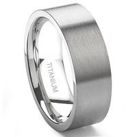 Titanium 8MM Brush Finish Flat Wedding Band Ring