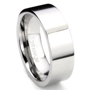 Titanium 8MM High Polish Finish Flat Wedding Band Ring