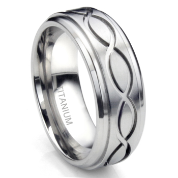 Titanium Celtic Infinity Eternity Wedding Band Ring