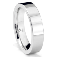 Cobalt XF Chrome 5MM Pipe Cut Flat Polished Wedding Band Ring