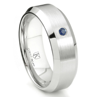 Cobalt XF Chrome 8MM Solitaire Sapphire Beveled Wedding Band Ring