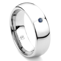 Cobalt XF Chrome 8MM Solitaire Sapphire Dome Wedding Band Ring