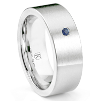 Cobalt XF Chrome 8MM Solitaire Sapphire Pipe Cut Flat Wedding Band Ring