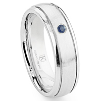 Cobalt XF Chrome 7MM Solitaire Sapphire Newport Dome Wedding Band Ring