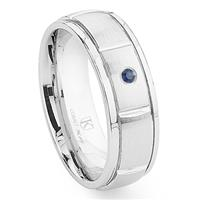 Cobalt XF Chrome 8MM Solitaire Sapphire Newport Dome Wedding Band Ring w/ Grooves
