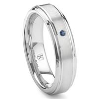 Cobalt XF Chrome 6MM Solitaire Sapphire Brushed Wedding Band Ring w/ Raised Center