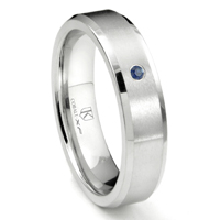 Cobalt XF Chrome 6MM Solitaire Sapphire Brushed Wedding Band Ring w/ Beveled Edges