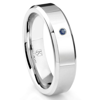 Cobalt XF Chrome 6MM Solitaire Sapphire High Polish Wedding Band Ring w/ Beveled Edges