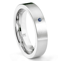 Cobalt XF Chrome 6MM Solitaire Sapphire Brushed Pipe Cut Wedding Band Ring