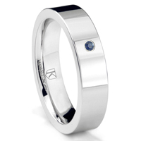 Cobalt XF Chrome 6MM Solitaire Sapphire High Polish Pipe Cut Wedding Band Ring
