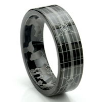 HALO Black Tungsten Carbide Flat Wedding Ring