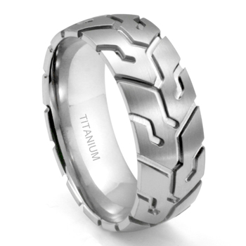 Titanium 8MM Tire Tread Dome Wedding Band Ring